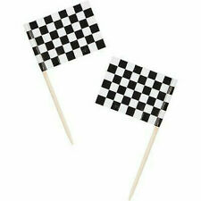 Checked Flag Black And White Racing Flags Picks Cake Cupcake Topper Decoration