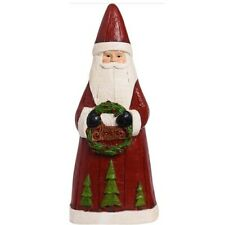 Tall Traditional Standing Santa Carved Wood Look Statue Figurine with Wreath
