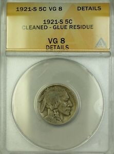 1921-S Buffalo Nickel 5c Coin ANACS VG-8 Details Cleaned Glue Residue
