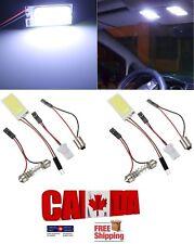2x White COB Led Panel Dome Light Interior Lamp 12V + BA9S T10 Festoon Adapters
