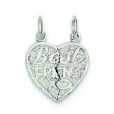 .925 Sterling Silver Best Friends 2-piece Break Apart Heart Charm Pendant