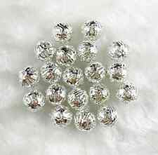 Free ship 80Pcs 8MM Silver Plated Metal Filigree Spacer Loose Beads