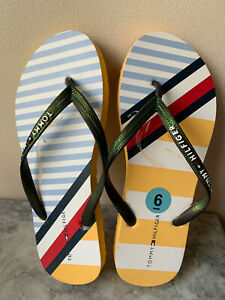 NEW! TOMMY HILFIGER YELLOW PRINTED FLIP-FLOPS SLIPPERS SANDALS 6 36 SALE