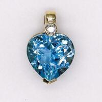 Anhänger mit Blautopas Herz und Brillant 0,03 ct. in aus 14 Kt. 585 Gold pendant