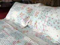 Super King - Summer Weight Pale Blue Patchwork Quilt Bedspread Ditsy Pink Floral