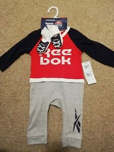Reebok Baby Boys Romper All In One Bodysuits +free boots  Size 0-3 Months gifts