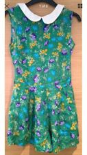 Size 8 Green Playsuit Pattern Floral White Collar Blue Purple Shorts Dress