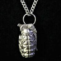 "1 1/2"" Tall Solid 925 Sterling Silver Hand Grenade Pendant Charm MK Pineapple"