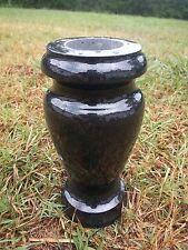 "Turned Round Granite Vase Black  (4""x8"")"