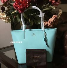 Kate Spade Sawyer Street Maxi LEATHER  Tori Robins Egg Blue Green Large Bag Tote