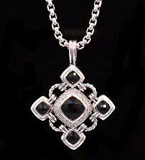 Authentic DAVID YURMAN Sterling Silver Black Onyx & Diamond Renaissance Necklace
