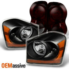 Fit 04-06 Dodge Durango Black Headlights + Dark Red Tail Lights Replacement (Fits: Dodge)