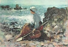 B63800 art reproduction Nicolae Grigorescu Pescarita la Gran   painting postcard