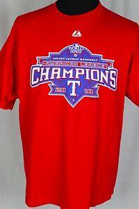 Majestic Texas Rangers American League Champions 2010 XL Red T-Shirt MLB
