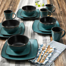 Gibson 16 Piece Square Stoneware Dinnerware Set Service for 4 Plates Bowls Mugs