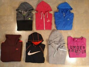 Lot of 7 women's UNDER ARMOUR, NIKE & ADIDAS sweatshirts - SIZE MED