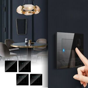 Black Glass Panel Smart Touch Switch Home Hotel LED Indicator Light Wall Switch