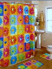 New Crazy Daisy Bright Multi-Color MOD Retro Fabric Shower Curtain Popular Bath