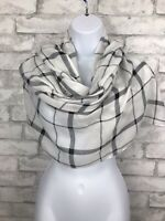 White and Black Check Windowpane Scarf Wrap Eyelash Fringe 73x33""