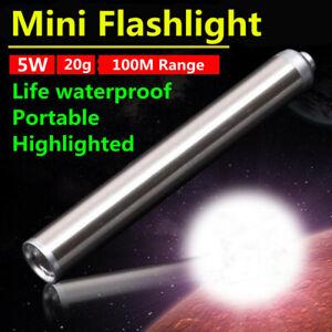 Stainless Steel Mini LED Flashlight Pocket Tactical 5W Pen Light Torch AAA