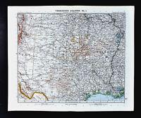 1911 Stieler Map United States Texas Louisiana Oklahoma Arkansas Houston Austin