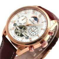 OUYAWEI Herren Schwungrad Leder Luxus Skeleton Automatic Mechanical Wrist Watch