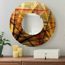 GOLDEN CIRCLE MIRROR Metal Wall Art Mirror  Modern Gold Black Decor Jon Allen