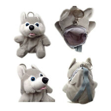 "Plush Keychain Keyring Zippered Coin Pouch Bag Animal Dog Husky Gray 5"" NEW"
