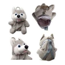 "Plush Keychain Keyring Zippered Coin Pouch Bag Animal Dog Husky Gray 5"" NEW"