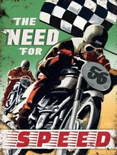 The Need For Speed Motorcycle Racing Chequered Flag Medium Metal/Steel Wall Sign