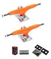 """Gullwing Pro III 9"""" Orange Skate Trucks Pair + Cal 7 Hardware Riser Pads Set"""