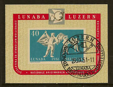 SWITZERLAND : 1951 LUNABA Stamp Exhibition miniature sheet SG MS531a fine used