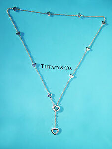 Tiffany & Co Sterling Silver Heart Link Lariat 18.5 inch Chain Necklace
