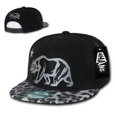 California Republic BLACK LEOPARD PRINT SNAPBACK Hat vtg CALI BEAR Flat Bill Cap