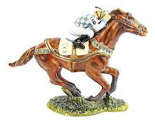 Racehorse with Jockey,  Horse Trinket Box or Figurine
