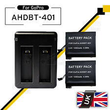 2x1280mAh Battery + USB Charger Dock For GoPro AHDBT 401 Hero 4 Black Silver UK