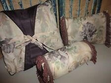 CROSCILL CHAMBORD CASSIS AMETHYST PURPLE (3) THROW  PILLOWS SQUARE OBLONG NECK