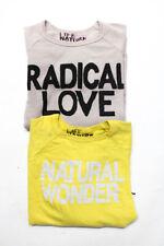 FREE CITY Womens Crew Neck Sweatshirts Tops Beige Yellow Size M Lot 2