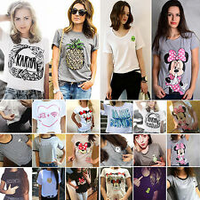 Women T-Shirt Tops Summer Short Sleeve Casual Graphic Tee Loose Blouse Plus Size