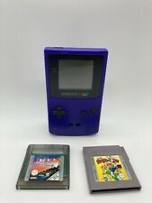 Nintendo Game Boy Colour Console Purple Grape Color + 2 Games TESTED ALL WORKING