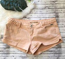 Billabong Womens Distressed Stretch Jean Shorts Peach Orange Size 5 BNWT