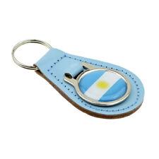 Argentina Flag Light Blue Bonded Leather Keyring XKFR043