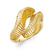 Curve Design Ring Solid 14k Yellow Gold Band Cocktail Ring Snake Style CZ Fancy