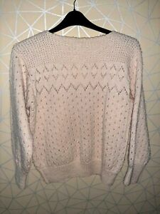 W87 WOMENS CREAM HAND KNITTED SWEATER JUMPER TOP LADIES UK PLUS SIZE 16-18