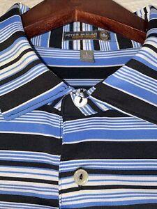 Peter Millar Summer Comfort Golf Polo Shirt Size Large Blue Striped