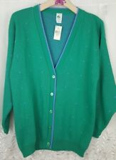 NWT Vintage Girl Scouts Acrylic Cardigan Green Sweater Juniors Sz L