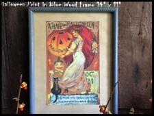 A Happy Halloween Art Print 14 x 11 Blue Wood Frame JOL Witch Pumpkin Black Cat