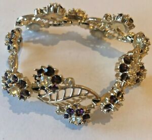 Vintage Gold Metal Bracelet With Flower Shaped Clusters of Purple Stones