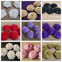 5 Handmade Satin Ribbon Roses 45mm Approx Flower Craft Wedding Applique Corsage