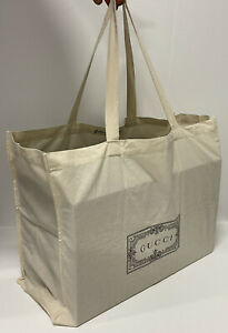 """NEW!! Oversized GUCCI Reusable Canvas Tote Shopping Bag Cotton 22""""x16""""x7.5""""."""